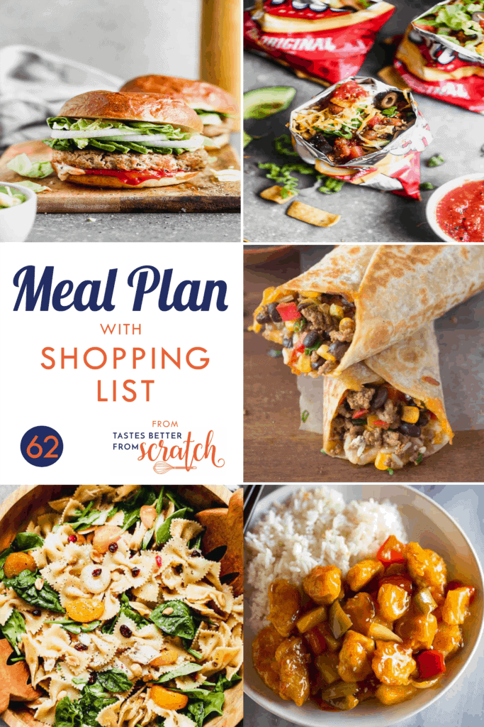 Collage of 5 dinner recipes comprising a weekly meal plan