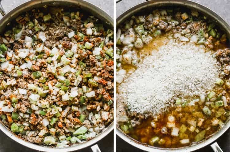 Two process photos or meat and veggies sautéing in a pan, then rice and broth added.