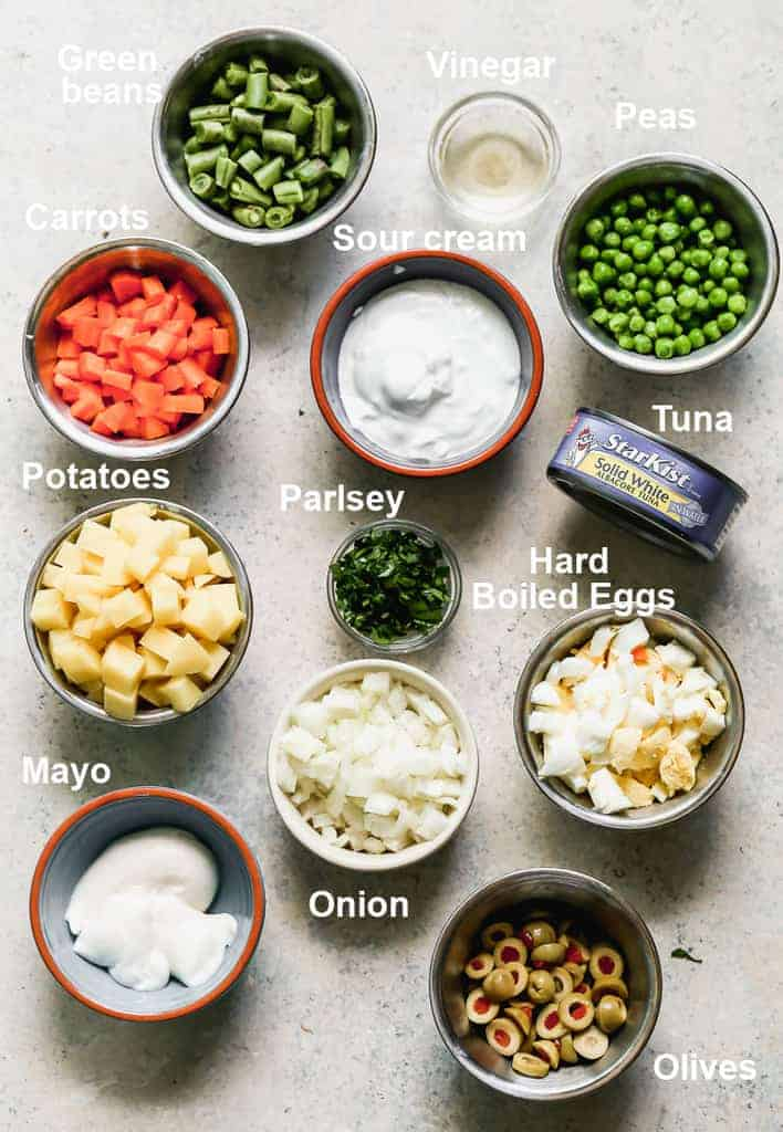 The ingredients needed to make Ensalada Rusa.