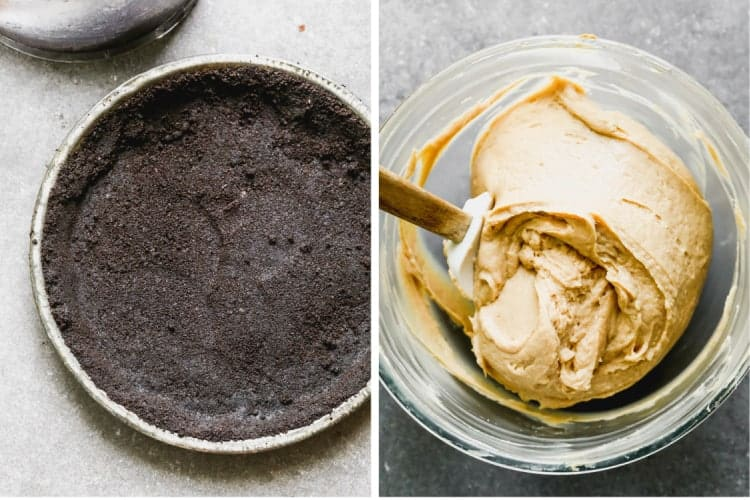 An Oreo pie crust next to a bowl of peanut butter pie filling mixed together in a mixing bowl.