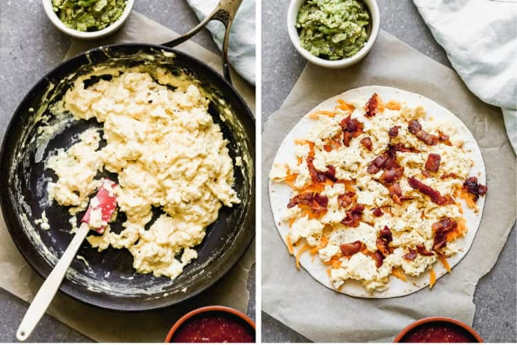 Two process photos for making breakfast quesadillas including eggs scrambled in a skillet, then topped on a flour tortilla with cheese and chopped bacon.