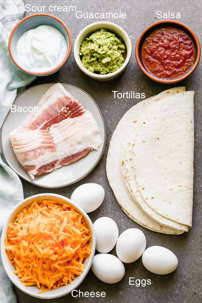 The ingredients needed to make breakfast quesadillas, on a board, labeled.