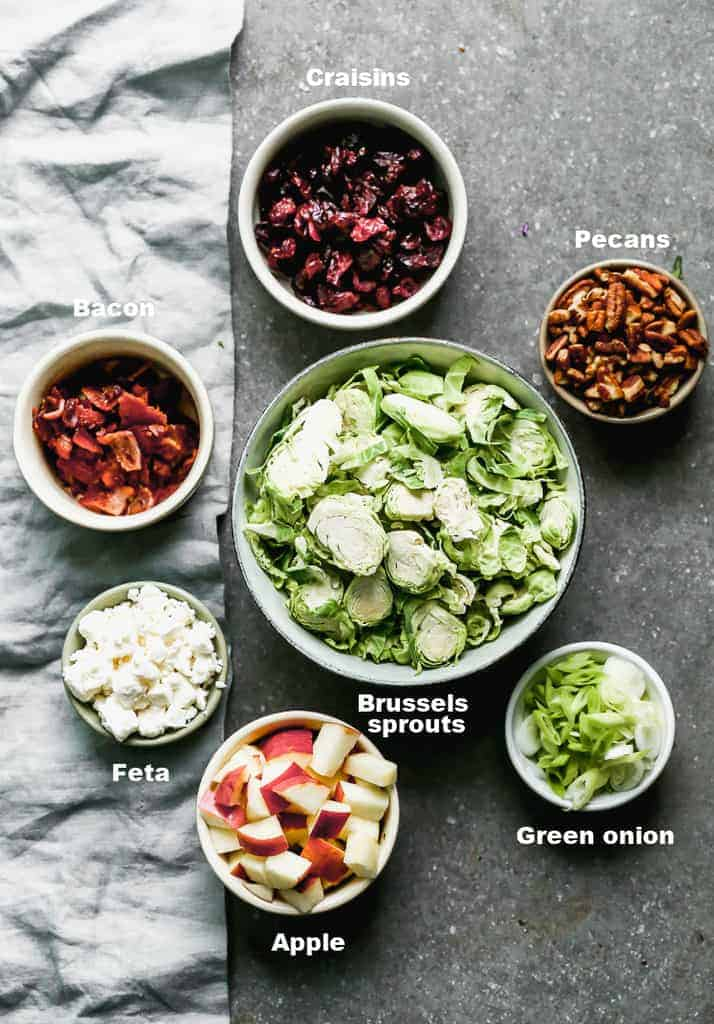 The ingredients needed to make brussels sprout salad including brussels sprouts, chopped apples, green onion, pecans, feta cheese, cranberries and bacon.