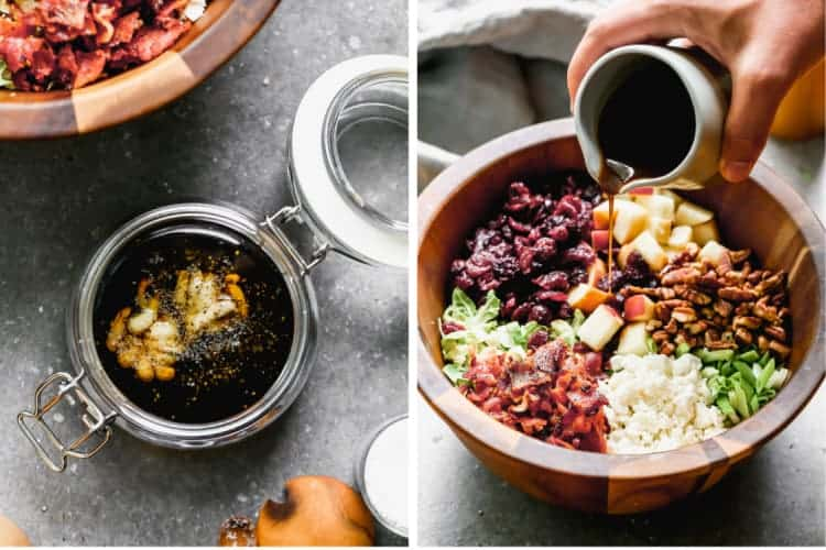 The ingredients for balsamic dressing added to a jar, next to a photo of the dressing being poured over a salad.