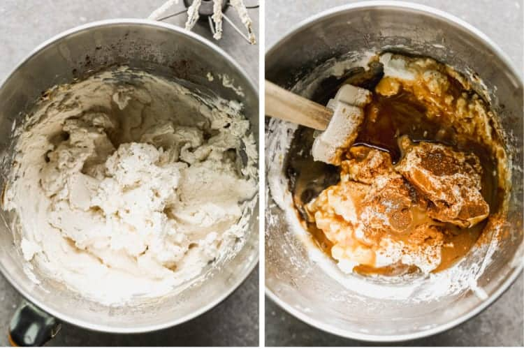 Two process photos for making caramel apple dip.