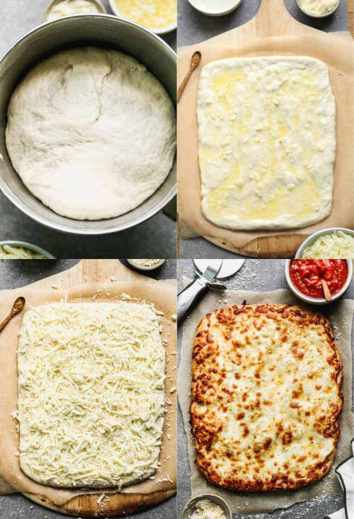 Four process photos for making cheesy breadsticks including the dough in a bowl, rolled out, toppings added, and baked.