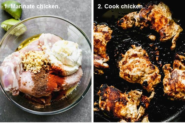 Two process photos of chicken marinating in a bowl, then cooking in a grill pan.