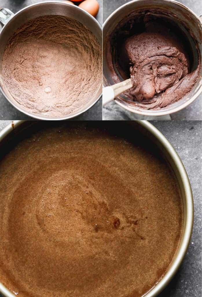 Three process photos for making dark chocolate cake batter.