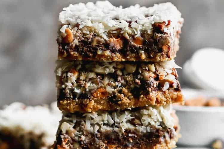 Four Magic Bars stacked on top of each other, on a board.