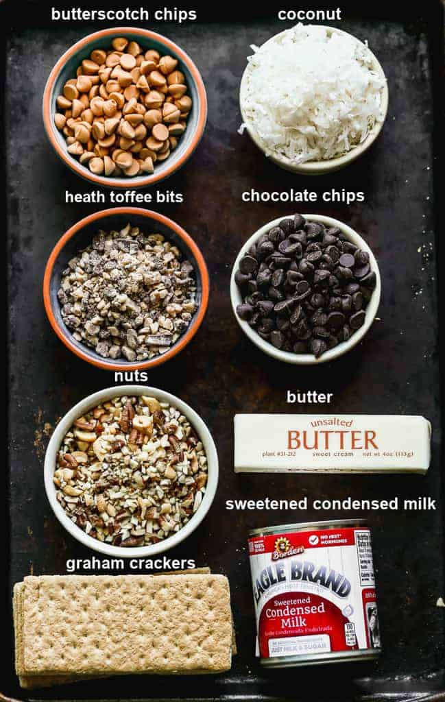 The labeled ingredients needed to make Magic Bars.