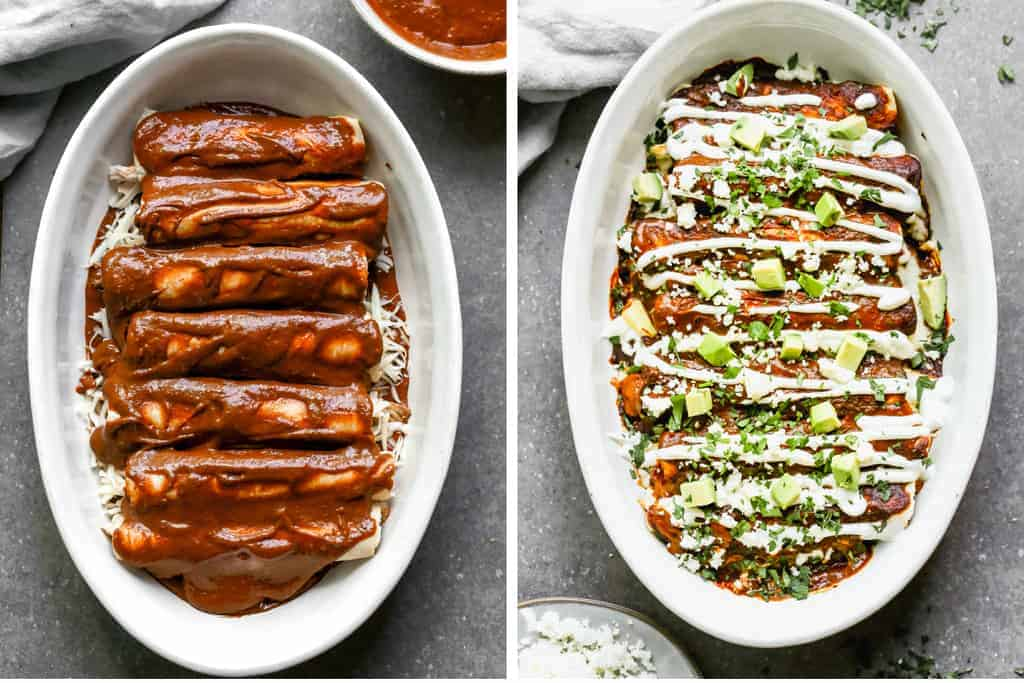 Mole sauce poured over chicken enchiladas and another photo of the baked enchiladas topped with sour cream, avocado, cilantro and queso fresco.
