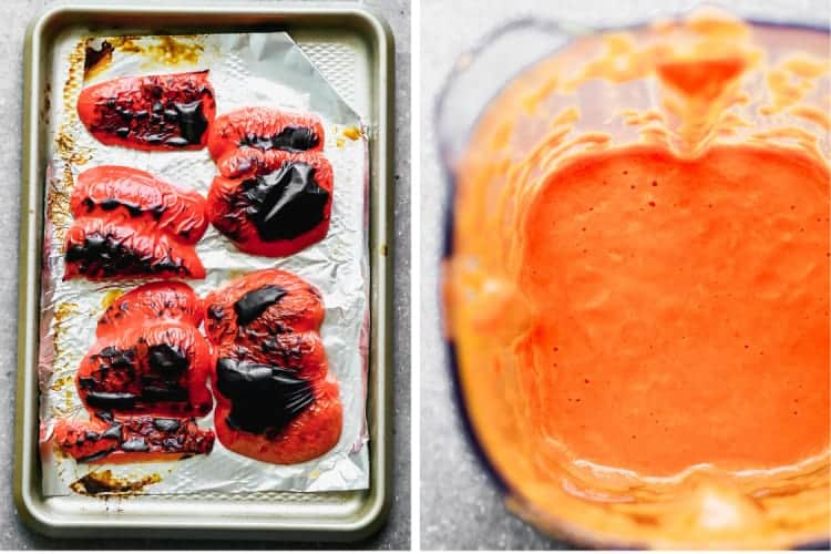 Roasted red bell peppers on a baking sheet next to a photo of a blender with roasted red pepper sauce.