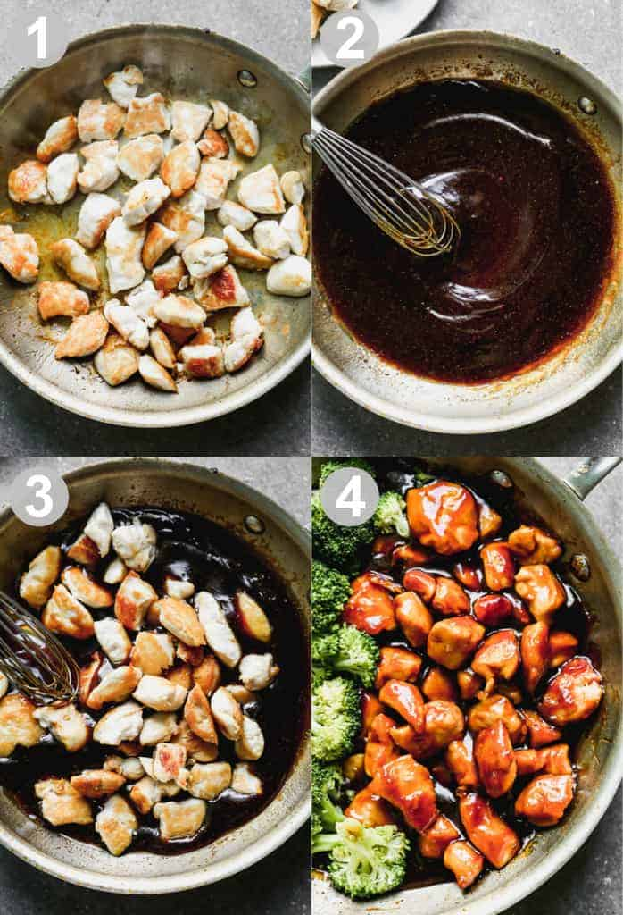 Four numbered collage images for how to make Teriyaki Chicken.