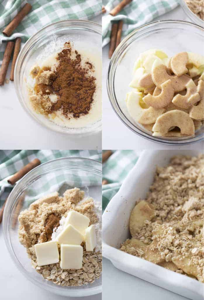 Four process photos for making Apple Crisp.