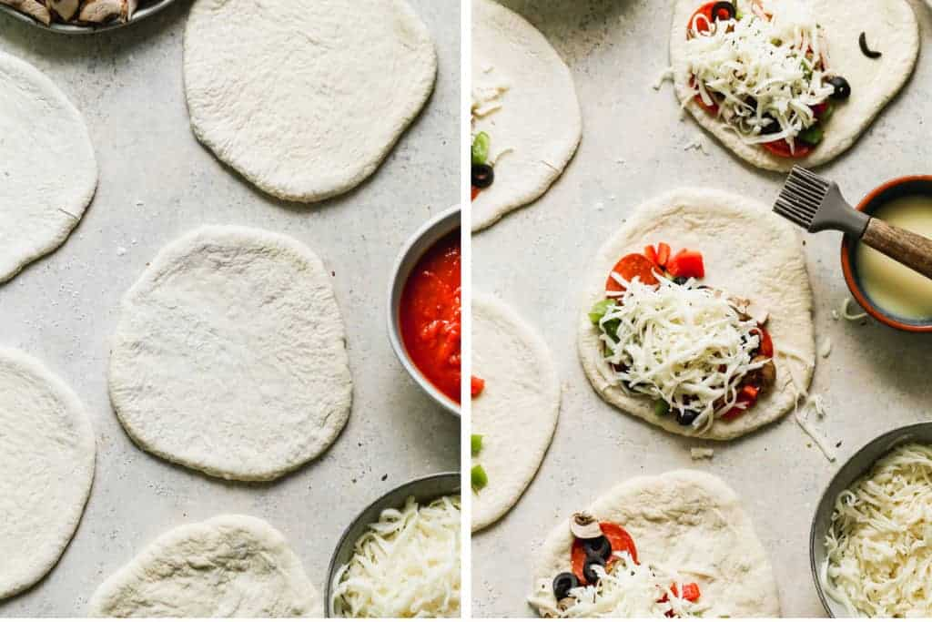 Two process photos of pizza dough rolled into discs, then topped with shredded cheese and pepperoni.