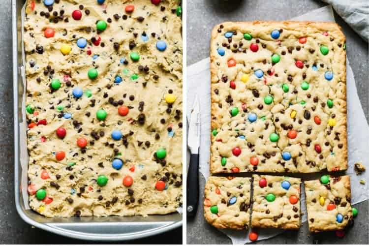 A pan with M&M Cookie Bars dough, then a photo of the baked bars, cut into squares.