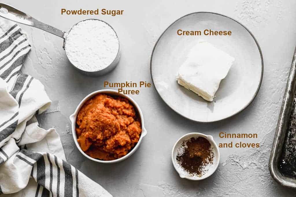Labeled ingredients needed to make Pumpkin Dip.