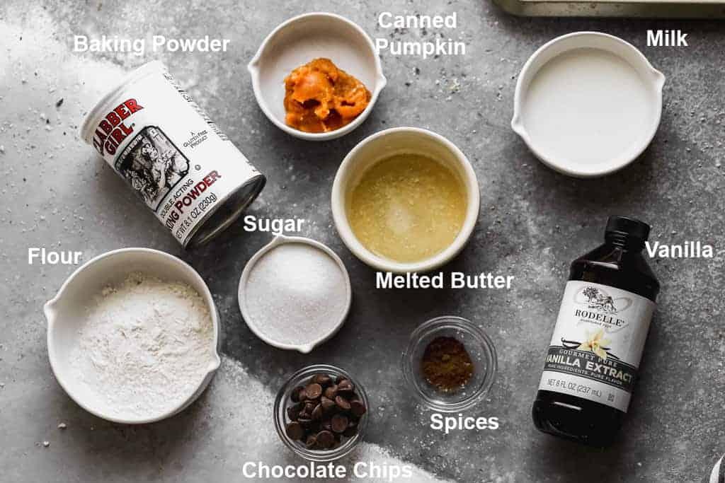 Labeled ingredients needed to make pumpkin mug cake.