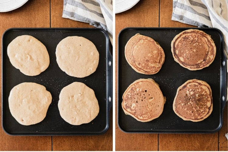 Two process photos for pouring pumpkin pancake batter onto a skillet, and flipping the pancakes.