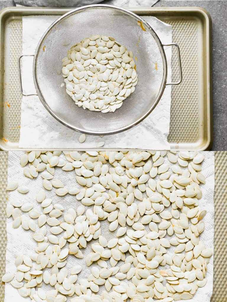 Pumpkin seeds rinsed clean in a colander, then spread out on a baking sheet to dry.