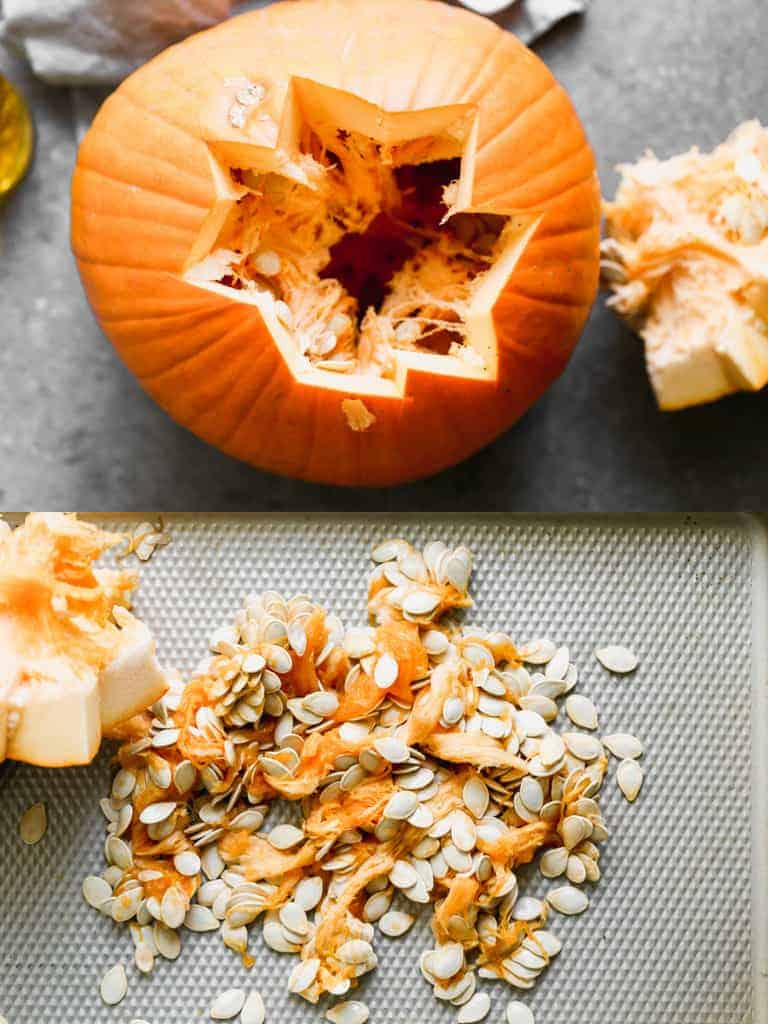 A pumpkin with the top carved out and seeds scooped onto a tray.