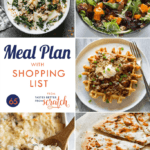 A collage of 5 dinner recipes comprising a weekly meal plan