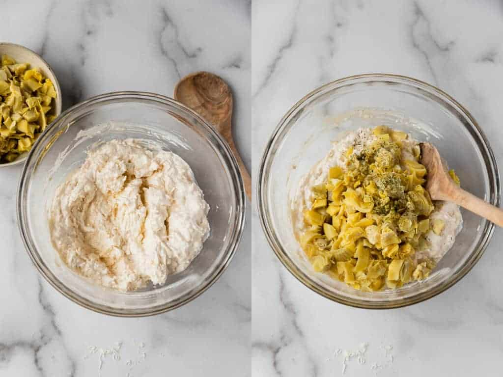 Two process photos for mixing artichoke dip ingredients in a mixing bowl.