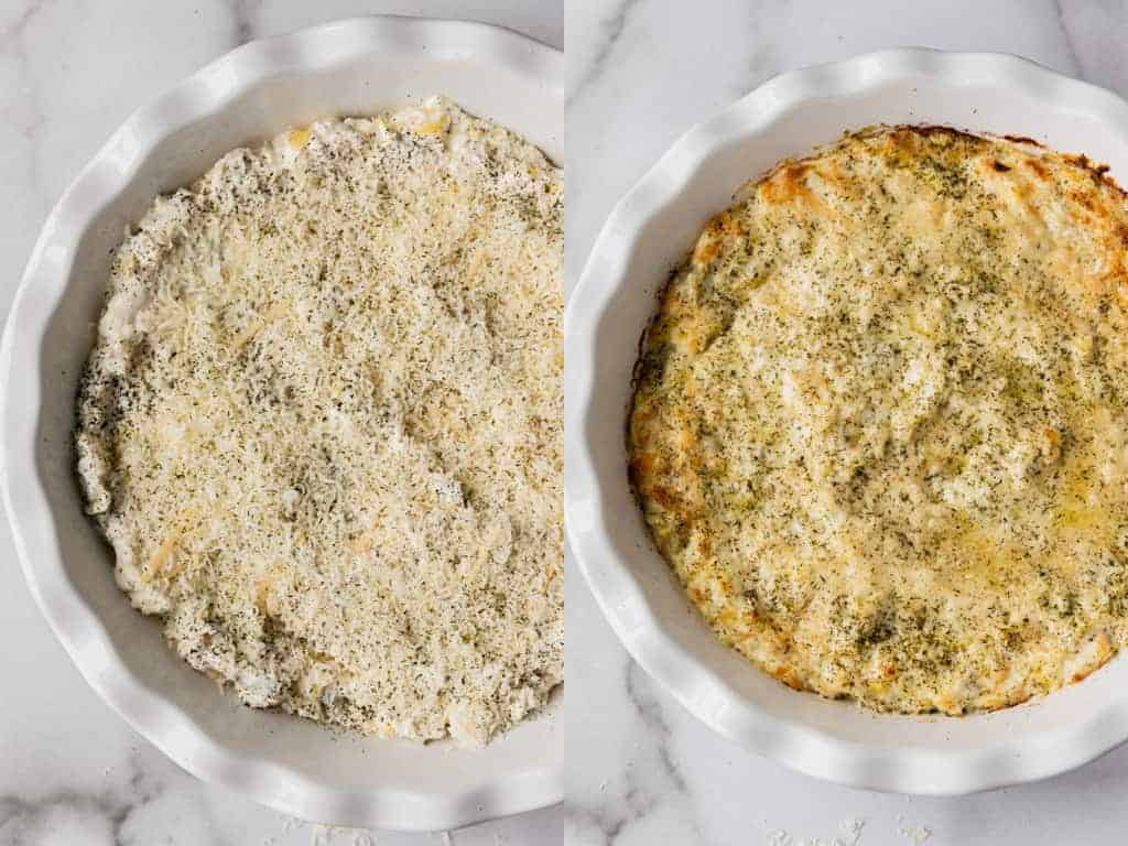 Before and after photos of artichoke dip smoothed into a dish and then baked.