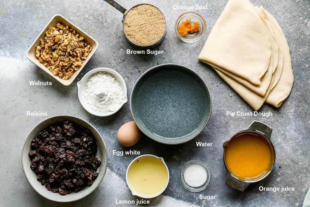 The ingredients needed to make Raisin Pie.