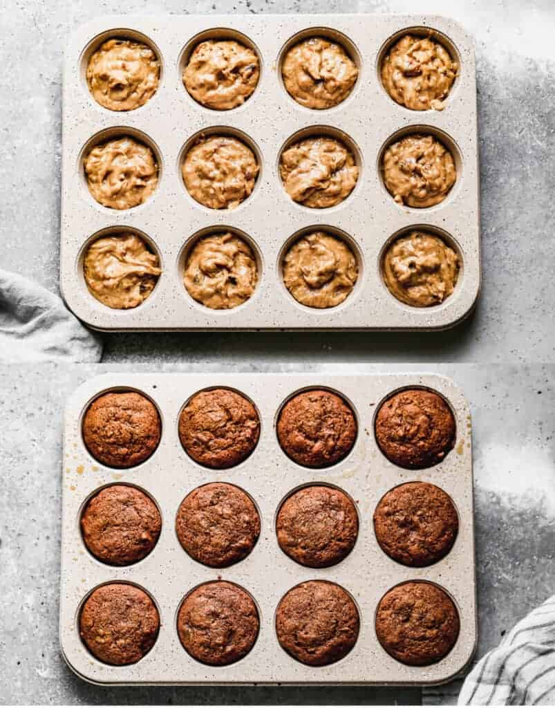 Before and after photos of a muffin tin with sticky toffee pudding batter, then baked.