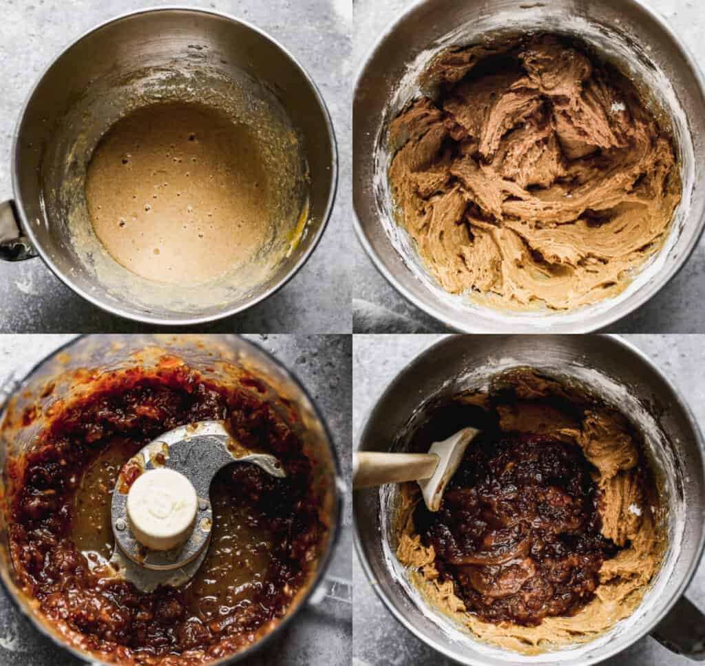 Four process photos for making sticky toffee pudding batter.