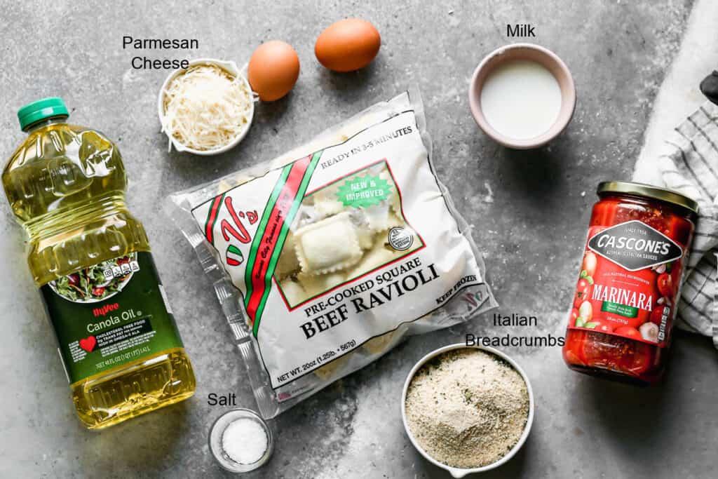 The ingredients needed to make Toasted Ravioli.