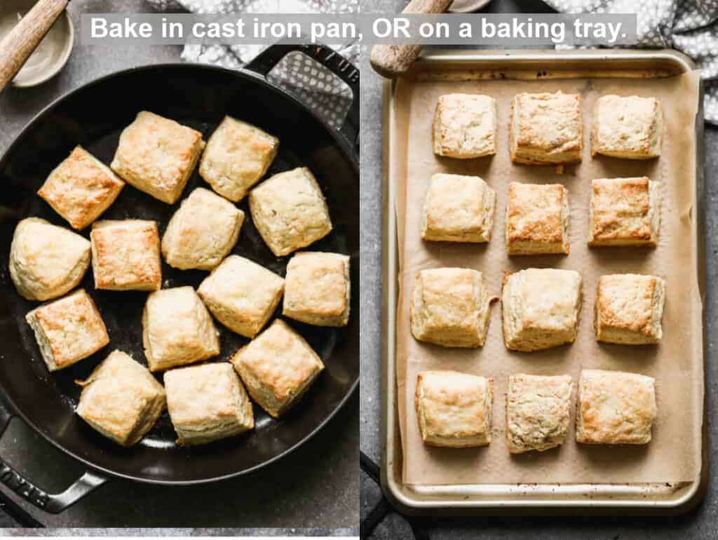 Side by side photos of Angel Biscuits in a cast iron pan, and on a parchment-lined baking tray.