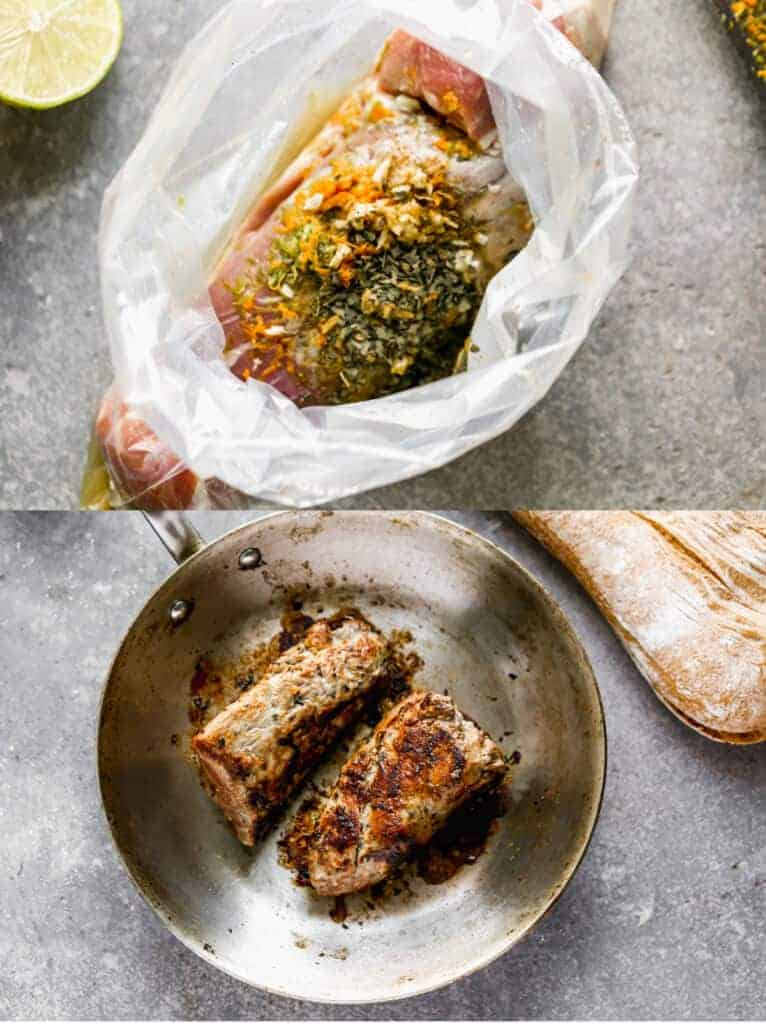 Pork tenderloin in a bag with marinade, then grilling in a skillet.