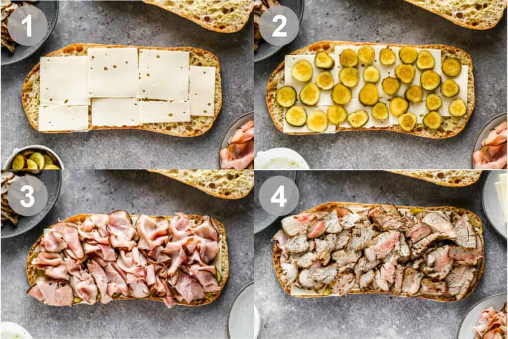 Four process photos for layering cuban sandwich bread with cheese, pickles, ham and pork.
