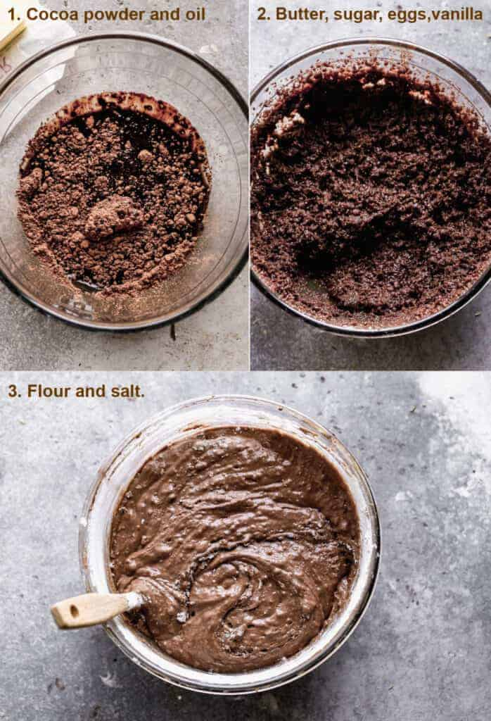 Three process photos for making brownie batter.