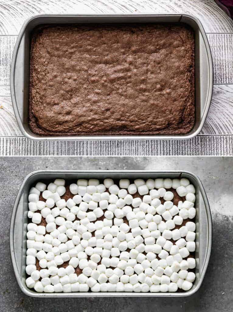 A pan of baked brownies, then marshmallows added on top.