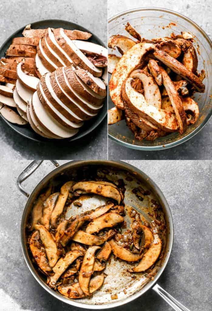 Drei Prozessfotos zum Schneiden und Kochen von Portabello-Pilzen für Tacos.