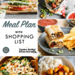 A collage of dinner recipes images comprising a weekly meal plan