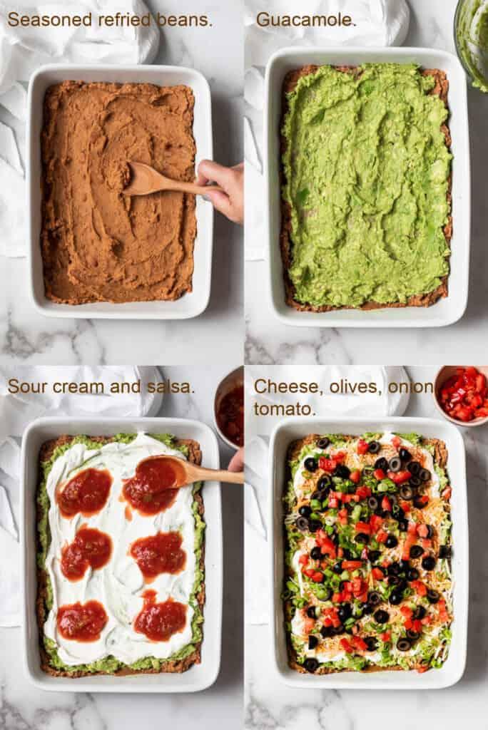Four process photos for assembling 7 layer bean dip.