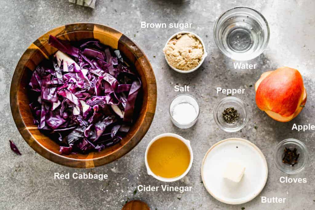 Ingredients needed to prepare German red cabbage.