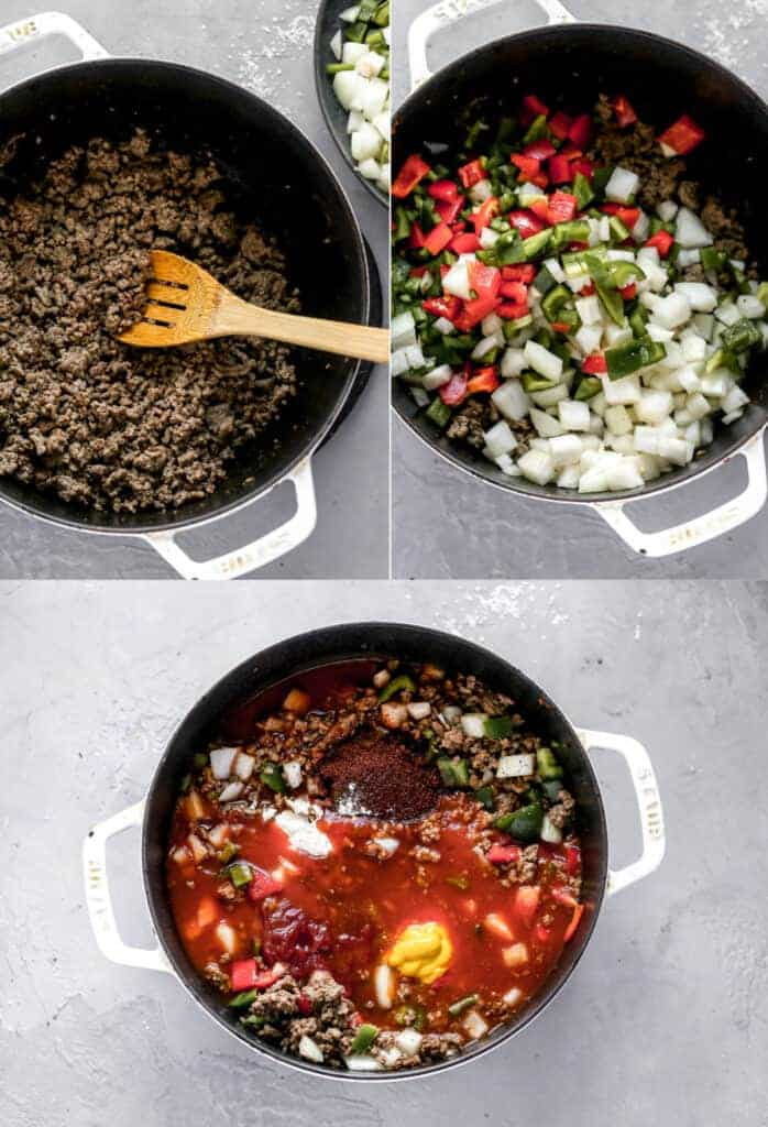 Three process photos for making Spicy Chili in a pot.