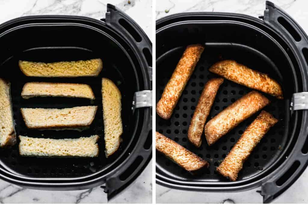 Battered bread slices placed in an air fryer and then cooked to make air fryer french toast.