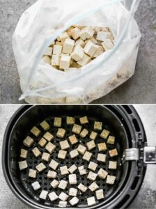 Chopped tofu pieces mixed with cornstarch and seasonings in a bag, then added to an air fryer.