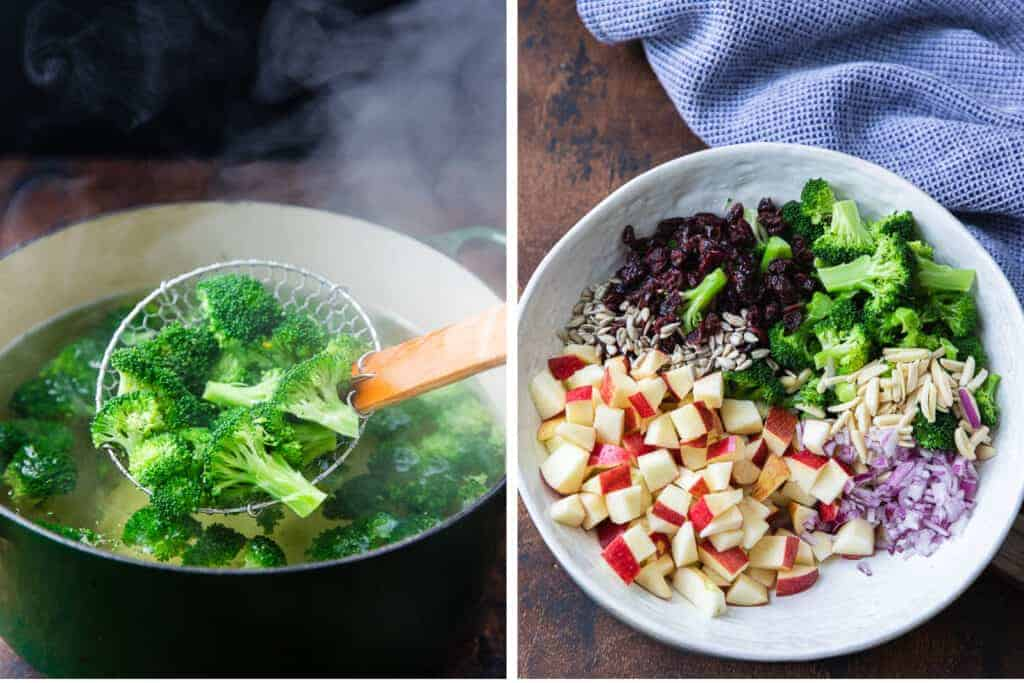 Broccoli blanching in a pot of boiling water next to a bowl with the ingredients for broccoli apple salad.