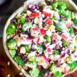 Broccoli Apple Salad in a serving bowl.