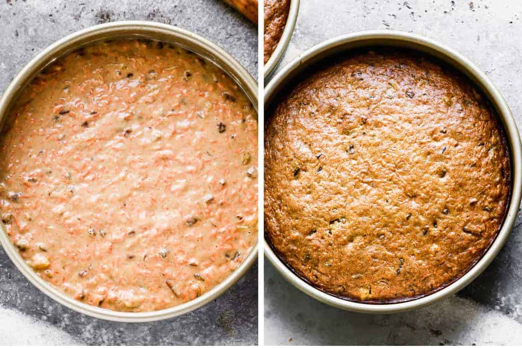 A round cake pan with carrot cake batter next to another photo of the baked cake in the cake pan.