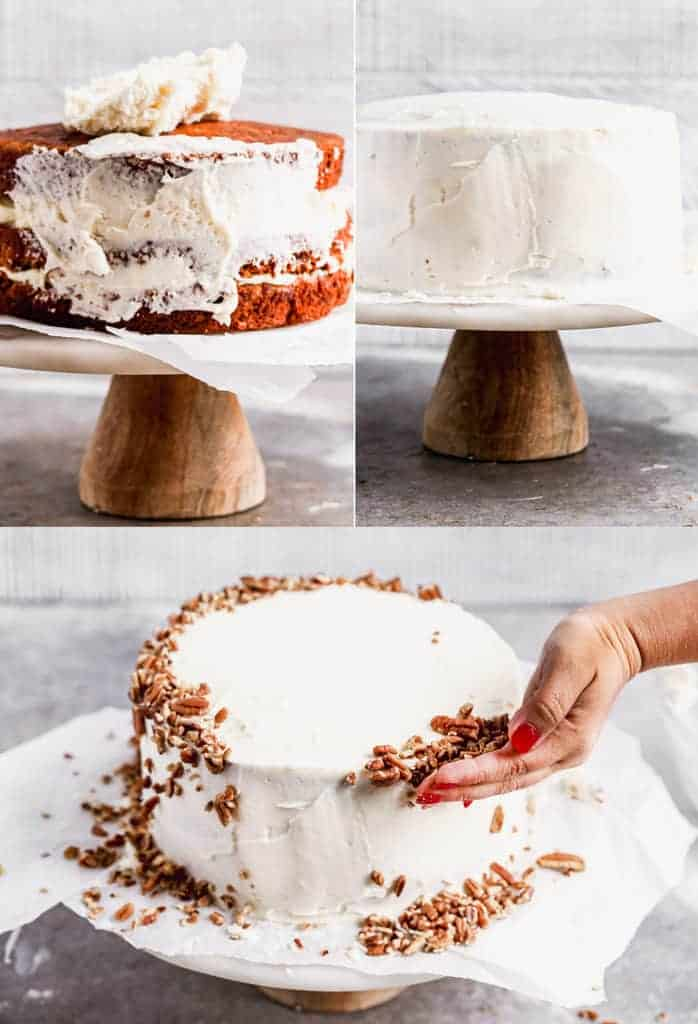 Three process photos for assembling a three-layer carrots cake on a cake stand and adding nuts around the frosting.
