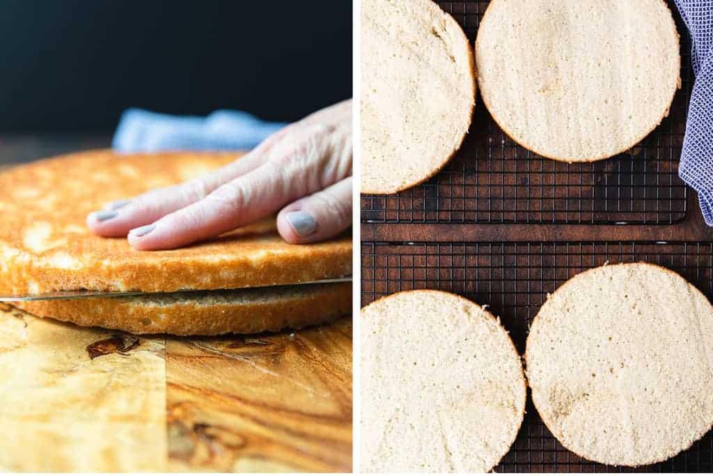 Zwei Prozessfotos, wie man einen Kuchenboden in der Mitte torten kann.