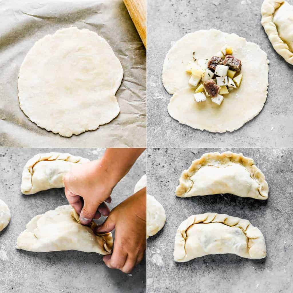 Four process photos for rolling dough, filling, and sealing the dough and fillings for Cornish Pasties.